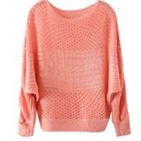 Textured Pullovers with Batwing Sleeves