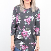 3/4 Sleeve Floral Burst Tunic {Charcoal}