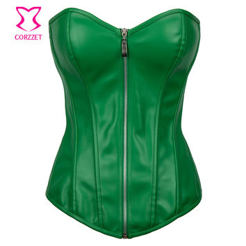 Punk Rave Bustier Sexy Green Faux Leather Corset Plus Size Corsets And Bustiers Steampunk Clothing 6XL Gothic Korsett For Women