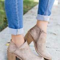 Khaki Zip Side Fastening Pointed Toe PU Ankle Boots
