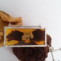 Natural flower orange pansy glass pendant necklace