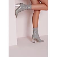 Ladies Clear Heel Patent Leather Booties