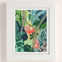 Ambers Textiles Jungle Sloth Art Print | Urban Outfitters
