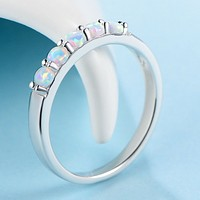 Rainbow agate ring with white opal stone atmosphere female models ring