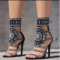 Open Toe Rhinestone Design High Heel Sandals Crystal Ankle Wrap Diamond Gladiator Women Sandals Black