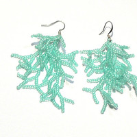Mint Green  Earrings. Beadwork. Beaded  Handmade Jewelry.