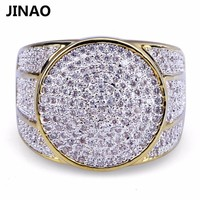 JINAO Hip Hop Rock Iced Out Bling Jewelry Ring Gold Color Micro Pave Cubic Zircon Rings 7,8,9,10,11