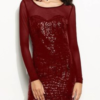 Red Patchwork Grenadine Sparkly Sequin See-through Backless Club Bodycon Mini Dress