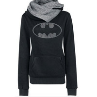 Grey Batman Logo Print Long Sleeve Hoodie