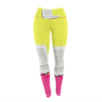 "Oriana Cordero ""Barcelona Chair"" Pink Yellow Yoga Leggings"