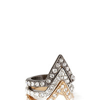 FOREVER 21 Pointed Rhinestone Ring Set Silver/Gold 6