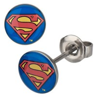 Stainless Steel Post with Red and Yellow Epoxy Superman Logo Stud Earrings