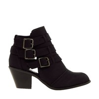 New Look Wide Fit Cave Black Cut Out Heeled Ankle Boots at asos.com