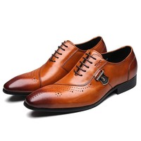 Italian Designer Black or Brown Brogue Shoes Genuine Leather Lace Up
