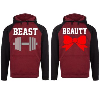Beast and Beauty Two-tone Burgundy / Black Raglan Hoodie