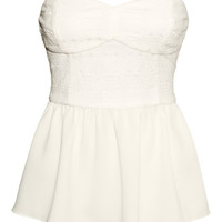 H&M - Strapless Top - White - Ladies