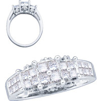 Diamond Ladies Fashion Ring with 4stone Princess Center in 14k White Gold 1 ctw