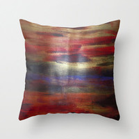 Red, Blue, and Gold  Abstract Throw Pillow 16x 16