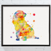 Long Haired Dachshund Art, Long Hair Dachshund, Dachshund Watercolor Art, Dachshund Poster, Dachshund Ornament, Dog Art Print, Nursery, Kids
