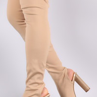 Fitted Elastane Chunky Heeled Over-The-Knee Boots