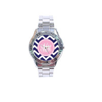 ON SALE:Monogramed Boyfriend Style Watch- Mix and Match Patterns and Colors