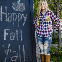 Clothing - Sequins and Plaid Button Up Flannel Top