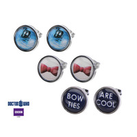 "Doctor Who Tardis, Bow and ""Bow Ties Are Cool"" Steel Stud Earrings Set"