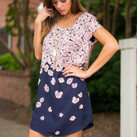 Falling For Floral Dress, Navy-Pink