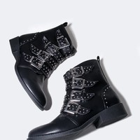 Studded Buckle Ankle Bootie