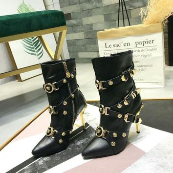 DCCK Versace Women Casual Shoes Boots  fashionable casual leather