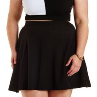 Plus Size Black Cotton Skater Skirt by Charlotte Russe