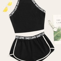 Lettering Detail Tape Top & Dolphin Shorts Set