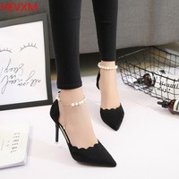 HEVXM 2017 Spring Autumn Women Sexy Buckle High Heels Woman OL Business Professional Shoes High-heeled Shoes Large Size 34-39