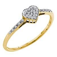 10kt Yellow Gold Women's Round Diamond Slender Heart Cluster Ring 1/12 Cttw - FREE Shipping (US/CAN)