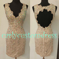 Short Champagne Bead Lace Recepation Dress/Lace Prom/V-neck Backless/Handmade Knee-length White Ivory Lace Bridal Dress/Wedding Party Dress