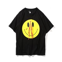 Spring and summer men's shirt Europe and the United States tide brand VLONE LIFE smiley face printed cotton T-shirt youth casual new short sleeve