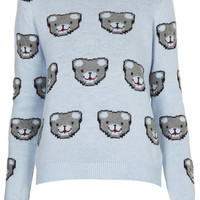 Knitted All Over Bear Jumper - Knitwear - Clothing - Topshop USA