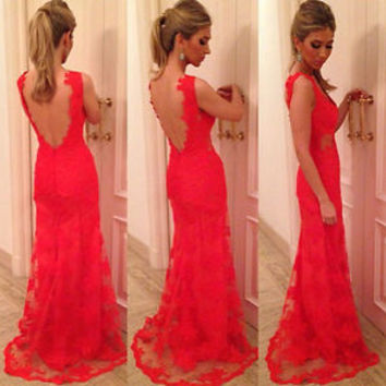 Sexy Backless Red Long Evening Formal Party Cocktail Dress Bridesmaid Prom Gown