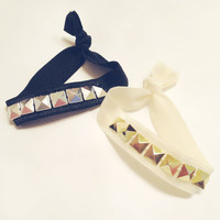 Choose One Studded Gold or Silver Elastic No Kink by emmaflhair