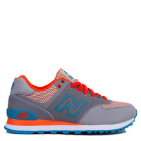 New Balance Woven 574 Sneakers in Grey with Orange & Blue Atoll