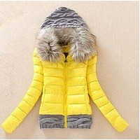 Cotton Padded Coat Jacket Short Knitted Hood Fur Collar