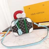 Kuyou Gb2981 Louis Vuitton Lv M44582 Monogram Mini Luggage Handbags Gray Should Bag 20*16*7cm