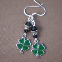 Green Four Leaf Clover Earrings, St Patrick's Day, Shamrock, Green Earrings, Black, Festive, Handcrafted Jewelry, Shamrock Gift