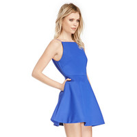 Strappy Backless Mini Dress with A-line Skirt