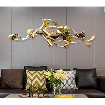 New design gold color metal material 3D wall decoration luxury home decoration pieces