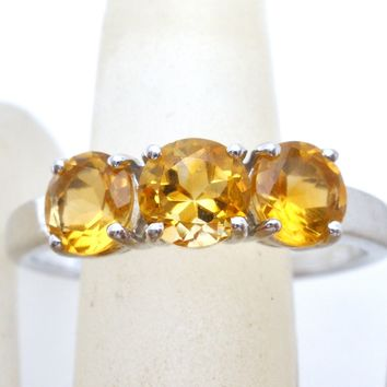 Citrine 3 Stone Ring Sterling Silver 9