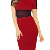 Red Lace Accent Short Sleeve Slit Midi Bodycon Dress