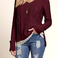 Burgundy V-Neck Knitted Jumper