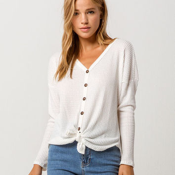 SKY AND SPARROW Tie Front Cream Womens Thermal