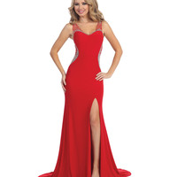 Red Sexy Sheer Beaded High Slit Sweetheart Dress 2015 Prom Dresses